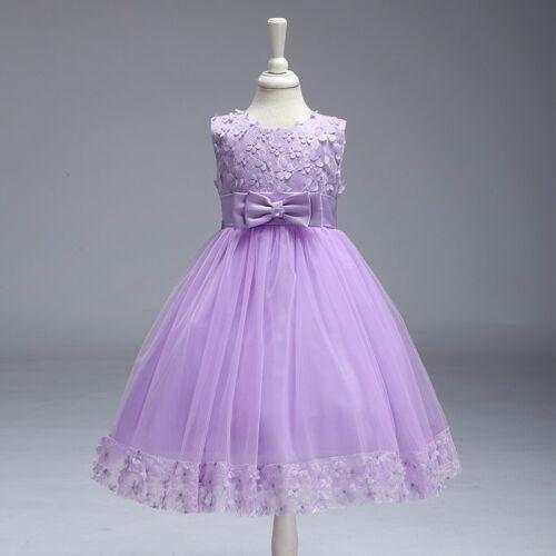 New Elegant Wedding Princess Girls Dress Flowergirl Lace Party Kids Clothes UK