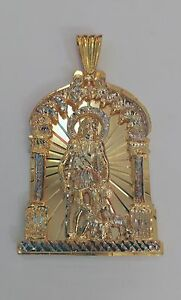1aefbe8688a Image is loading 10k-Yellow-Solid-Gold-Saint-Lazarus-Pendant-64-