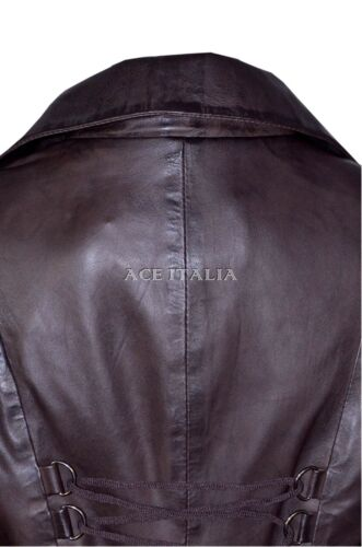 Gothic Leather Coat Ladies 3492 Laced Washed Edwardian Jacket Back Brown Real wzOqcaB