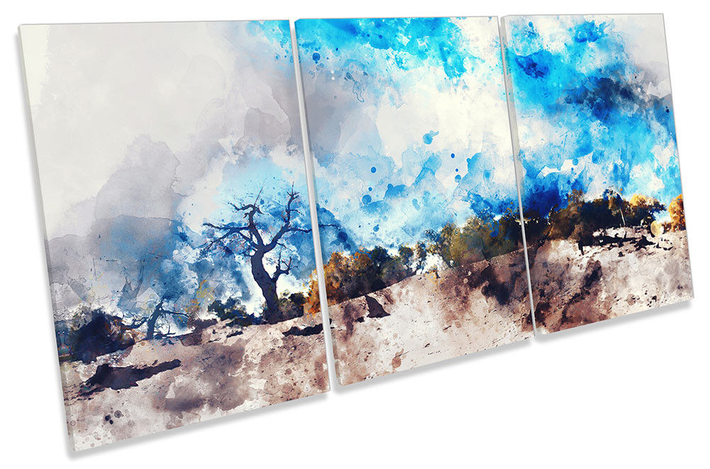 Abstract Blau Landscape Desert CANVAS WALL ARTWORK TREBLE Print Art Art Art 5a71fc