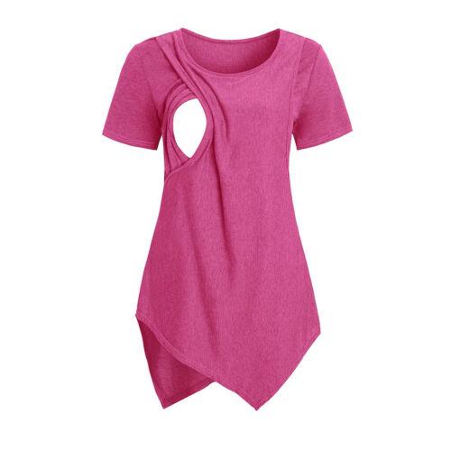 Women Maternity Solid Short Sleeve Nursing Breastfeeding T-shirt Pregnanty Tops