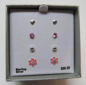 Sterling Silver Stud Earring Set Coeur Fleur Cristal Rose Argent Clous 4 paire-afficher le titre d`origine fdZQXDQh-09090709-197683316