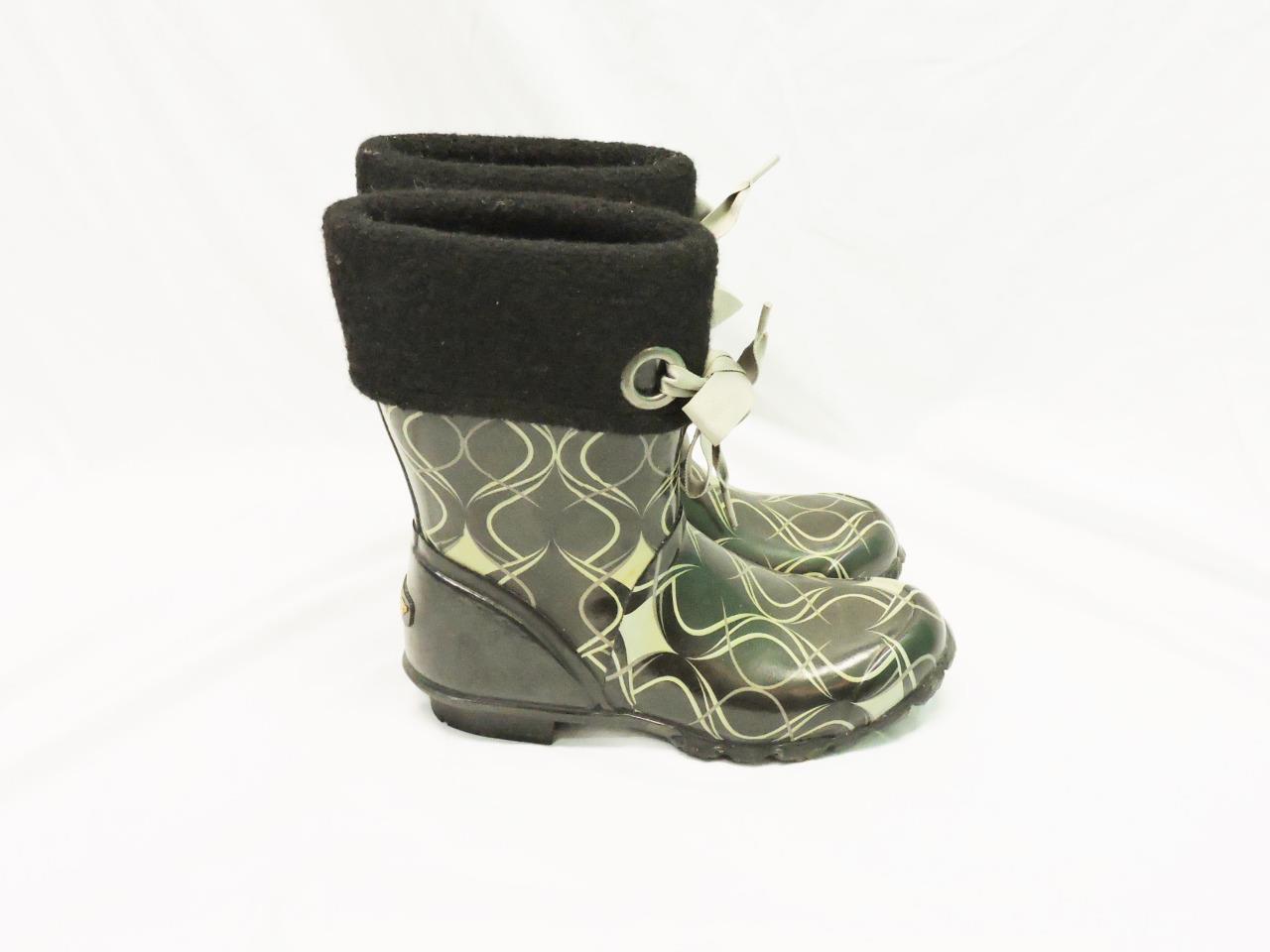 Bogs 7 Black Brown Becca Swirl Print Boots Fleece Lined Tie Top Rubber Rain Snow