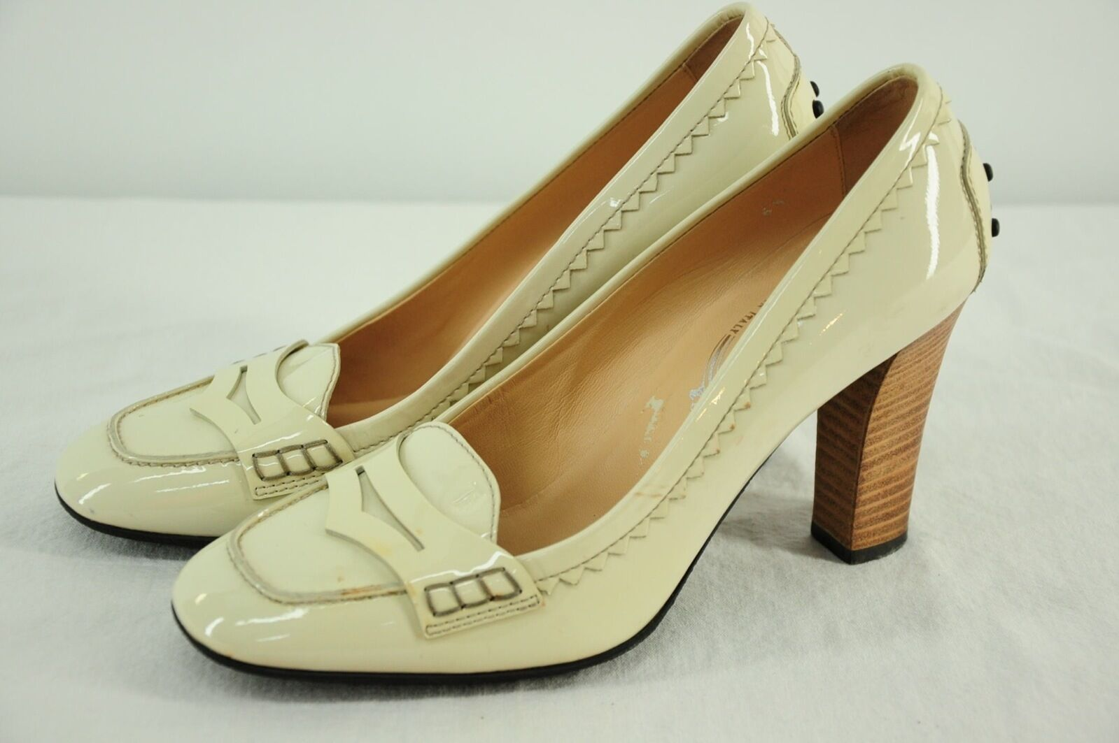 Tod's  Creamy White Patent Leather High Stacked Heel Stylish Penny 6.5