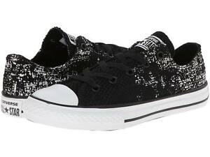 Converse-Junior-CT-OX-Black-Textile-amp-Silver-Metallic-Shoes-645106F-ALL-SIZES