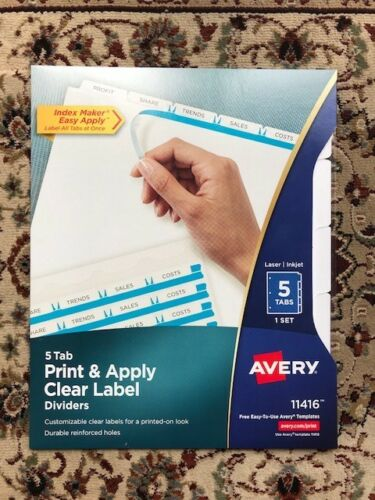 Lot of 10 New Sealed Avery 11416 Print /& Apply Clear Label Dividers 5 White Tabs
