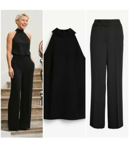 Next Emma Willis Noir Taille 12 R top chemisier ONLY New