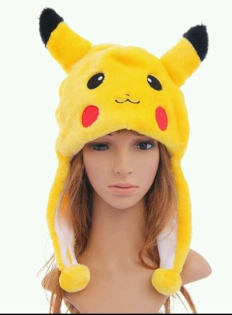 New Cute Animal Hat PIKACHU Plush Beanie Fleece Winter FLUFFY HOODED Kids  Cap 3cc83da4038c