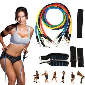 31b34eeed 11 PCS Resistance Band Set Yoga Pilates Abs Exercise Fitness Tube ...