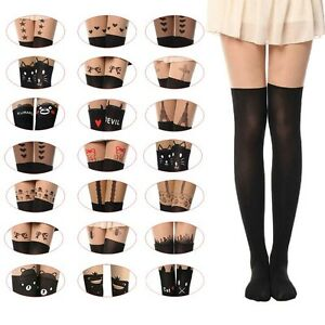 Womens-Girls-Sexy-Cotton-High-Socks-Thigh-High-Hosiery-Stockings-Over-The-Knee