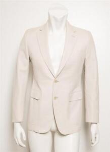 cheaper 22756 a82f1 Dettagli su Gucci da Uomo Beige Grigio Cotone 2-Button Giacca per Completo  Sport Cappotto