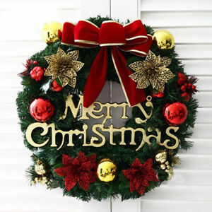 Image is loading Christmas-Wreath-Decor-For-Xmas-Home-Party-Door- & Christmas Wreath Decor For Xmas Home Party Door Wall Garland Flower ...