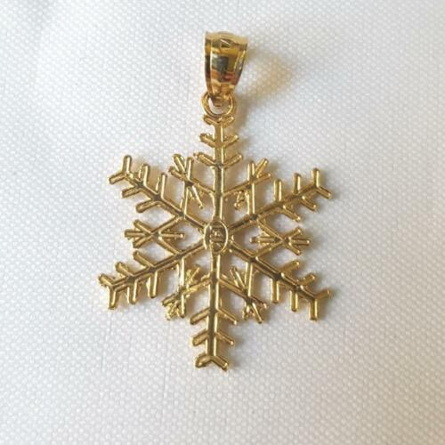 14k or jaune flocon de neige Pendentif//Charme made in USA