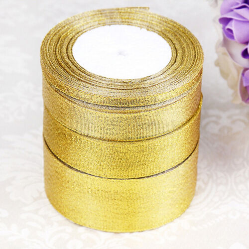 Silber Sheer Organza Band Party Hochzeit Gunsten 6-40mm AB 25 Yards Roll Gold