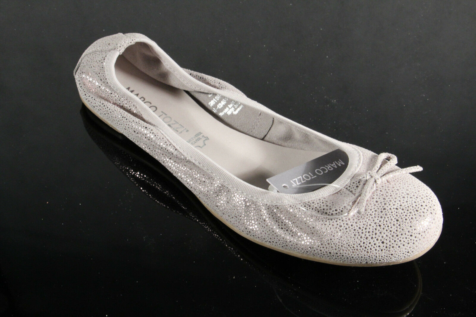 Marco Tozzi Ballerinas Slipper shoes Court Court Court shoes Grey Silver Real Leather New 629c10