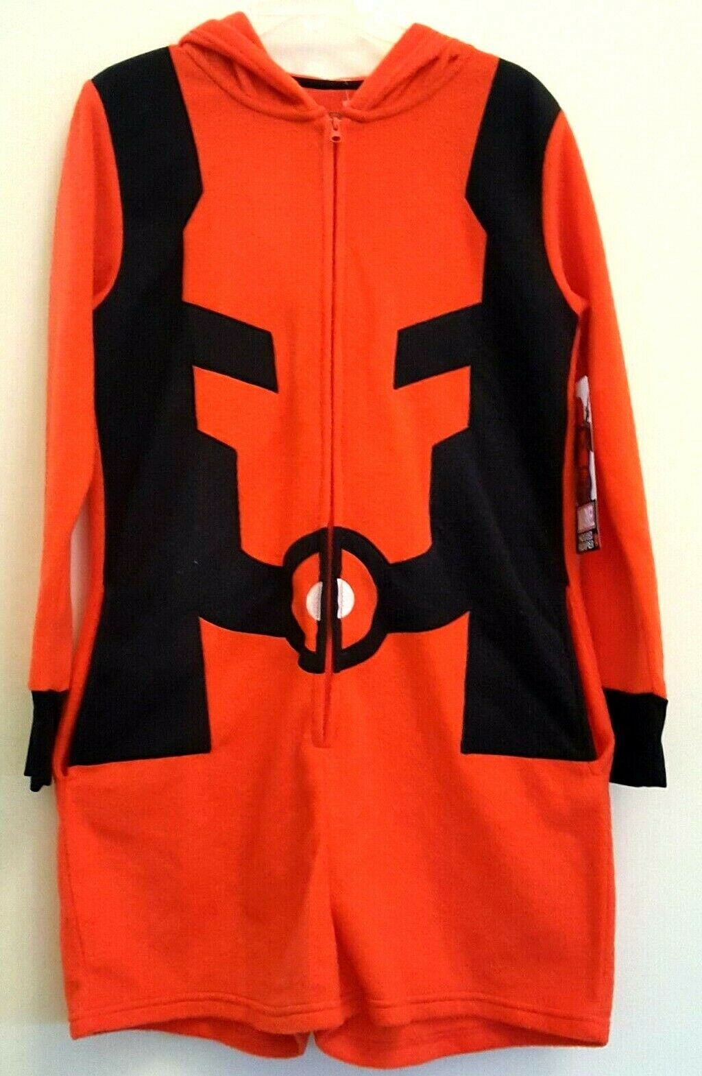 Marvel Size L DEADPOOL Hooded Costume Cosplay Romper Fuzzy Soft NWT