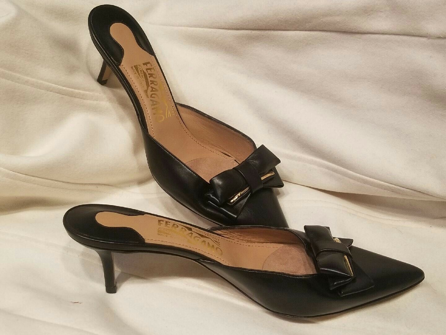 SALVATORE FERRAGAMO BLACK LEATHER WOMEN'S MULES HEELS SHOES, SIZE SIZE SIZE 8.5 B f197b1