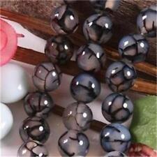 10mm Black Dragon Veins Agate Round Gemstone Loose Bead 15''AAA