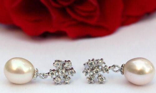 Yr32 agua dulce perlas joyas aretes pendientes circonita 925 plata como la nieve