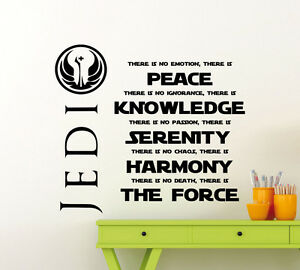 Image is loading Star-Wars-Wall-Decal-Jedi-Code-Quote-Master-  sc 1 st  eBay & Star Wars Wall Decal Jedi Code Quote Master Yoda Vinyl Sticker Decor ...