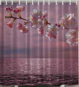 Image Is Loading Cherry Blossom Fabric SHOWER CURTAIN Ocean Sea Flower