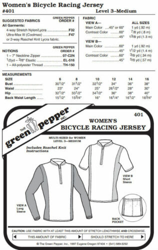 Pattern Only gp401 Women/'s Bicycle Racing Jersey Shirt #401 Sewing Pattern