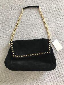 fae76e3a0fb26 Zara Bag Black Suede Gold Studs Chain Shoulder Clutch Handbag NWT ...