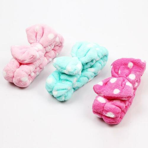 Cute Korean Spots Flannel Bowknot Hair Wrap Band Towel Face Makeup Headband S3