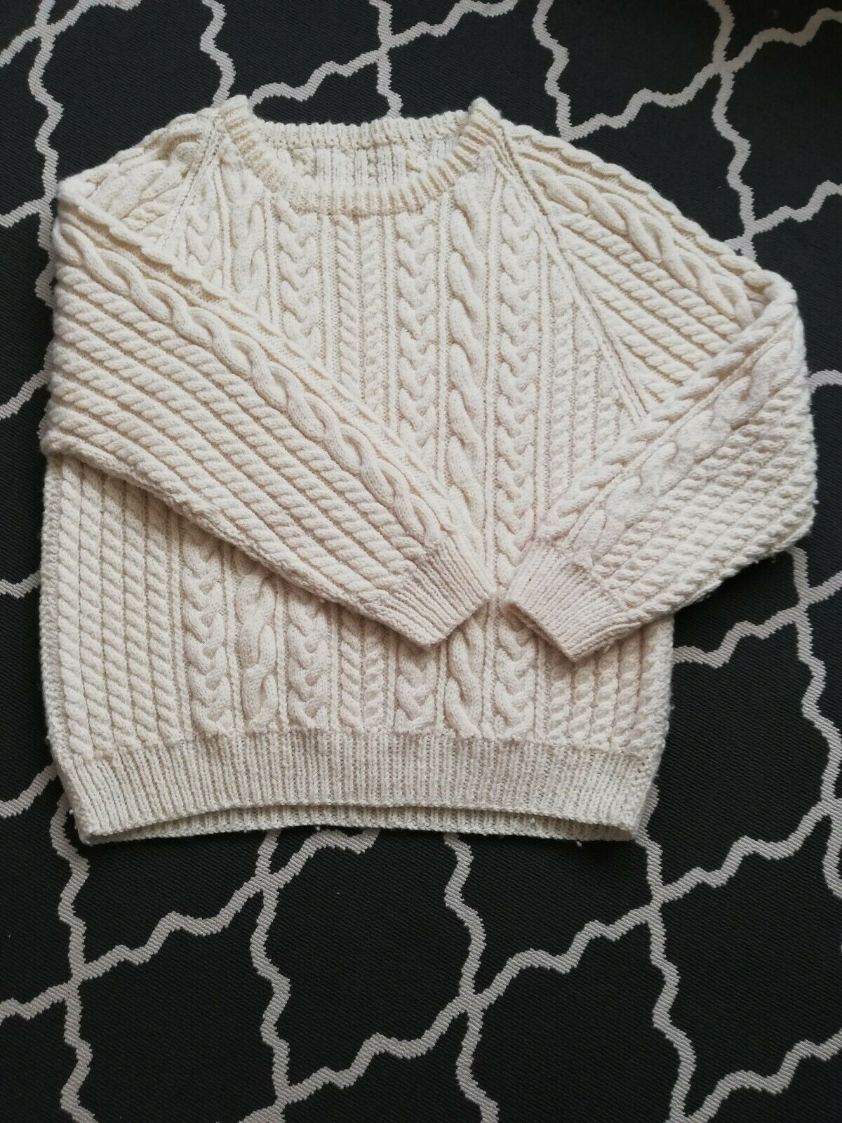 VINTAGE hand knitted chunky aaran jumper.  Beautiful condition 60 inch chest