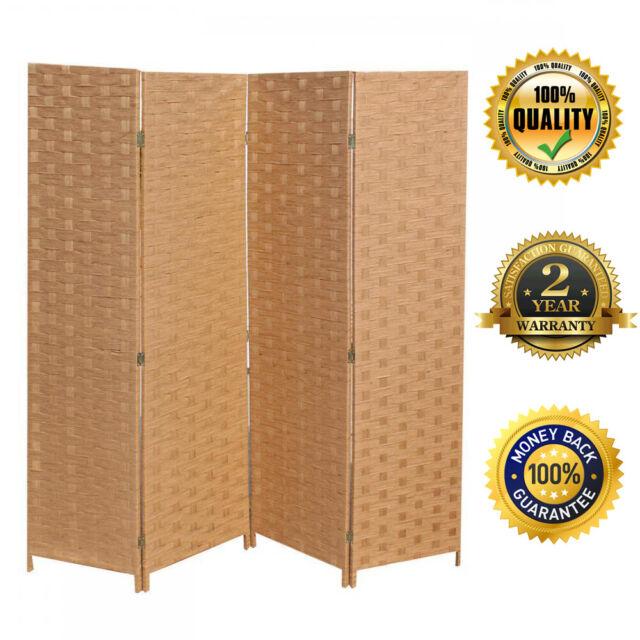 Wood Mesh Woven Design 4 Panel Folding Wooden Screen Room Divider 180