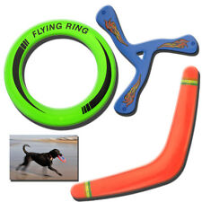 3 x FRISBEE FLYING RINGS BOOMERANG DOG PUPPY PLAY NEW PET OUTDOOR DISC FUN TOYS