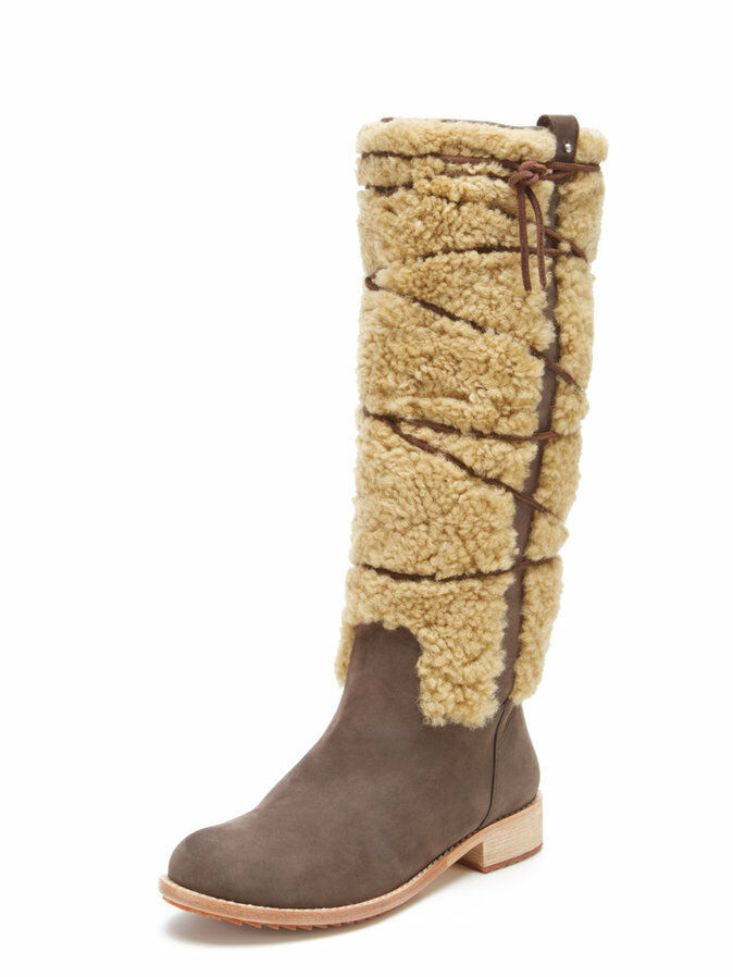 NEW Matt Bernson Alpenglow Lamb Shearling Fur Shaft Leather Tall Boot Women 6(7?