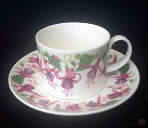 Dunoon-Elba-Caroline-Bessey-Fuchsia-Cup-And-Saucer-FREE-Delivery-UK