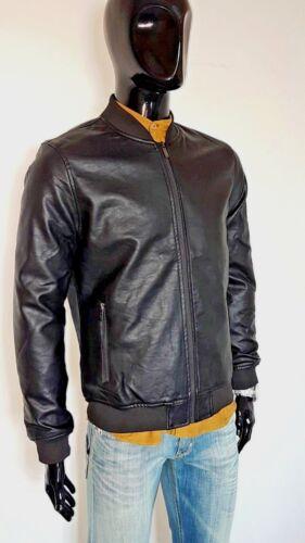 giubbotto uomo Chiodo Bomber Biker eco pelle giacca corta nero Invernale Casual