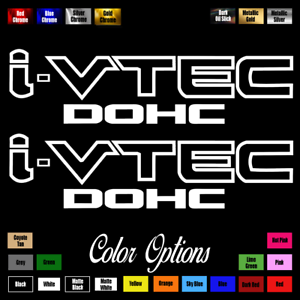 "(2)x i-VTEC DOHC ivtec 11"" emblem Vinyl Sticker Honda Civic Decal JDM drift 006"