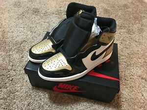 980f52c7896a68 Air Jordan 1 Retro High OG NRG Gold Toe Black Metallic 8  861428-007 ...