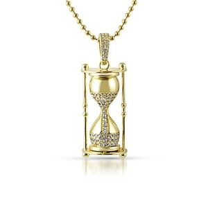 Gold 3d time is money hour glass pendant custom chain ebay image is loading gold 3d time is money hour glass pendant aloadofball Images