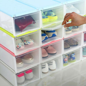 hot transparent drawer case plastic shoe storage boxes organizer stackable box ebay. Black Bedroom Furniture Sets. Home Design Ideas