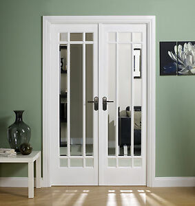 Manhattan white room divider internal interior door set glazed french doors ebay for White interior double doors with glass