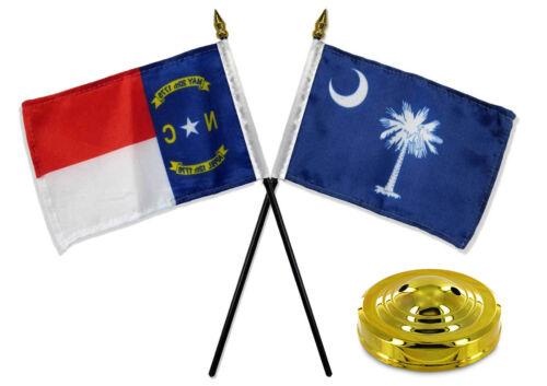 "North Carolina NC w// South Carolina SC State Flags 4/""x6/"" Desk Set Gold Base"