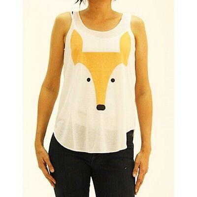 FOX Tank Top T Shirt Print Casual Light Weight S/M M/L Tee Women's Foxy Animal