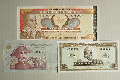 Amerika 10 And 20 Gourdes Au-unc Spare No Cost At Any Cost Papiergeld Welt Audacious 3 Verschiedene Haiti Papier Geld 1 Xf
