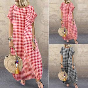 ZANZEA-Women-039-s-Batwing-Long-Shirt-Dress-Round-Neck-Plaid-Check-Maxi-Dress-Plus