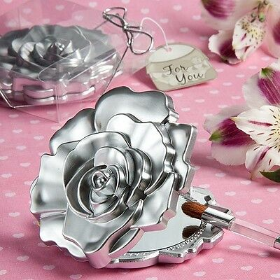 Realistic Rose Floral Design Mirror Wedding Party Gift Favor Cosmetic Compact