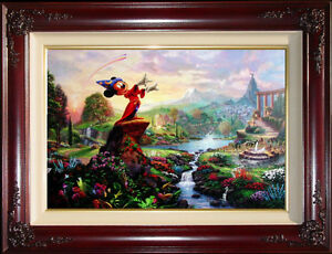 Thomas-Kinkade-Disney-Fantasia-24x36-S-N-Framed-Limited-Canvas-Mickey-Mouse