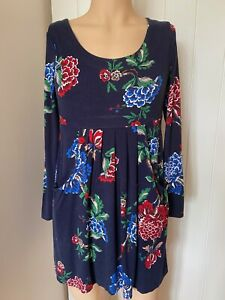 Joules-Dress-Tunic-Top-UK-Size-12-Womens-Ladies-Navy-Blue-Floral-Pockets-Summer