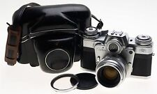 ZEISS CHROME CONTAREX SLR FILM CAMERA BULLS EYE PLANAR 2/50 CAP CASE f=50mm KIT