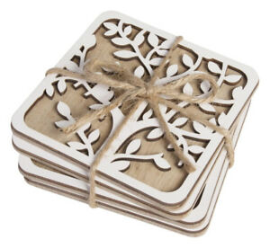 Drink-Coasters-Tree-of-Life-Natural-White-Cork-Back-Dining-Kitchen-Set-of-4
