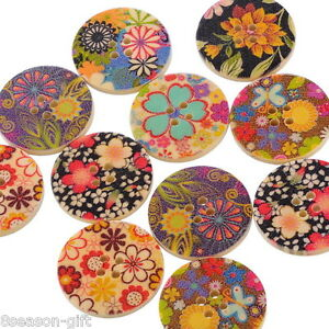 50-Mixed-Flower-Wood-Sewing-Buttons-30mm-B10213