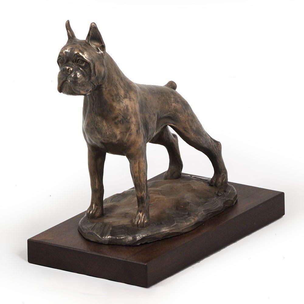 Boxer tedesco - busto statua di cane su base di legno, Art Dog IT